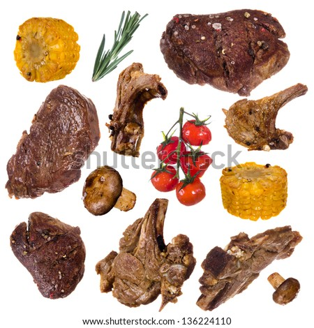 Bbq collection over white background - stock photo
