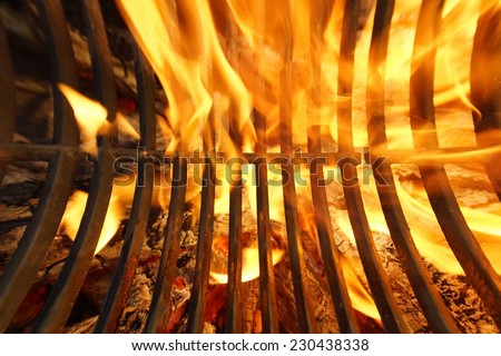 BBQ Grill Background. Flaming Grill with different effects.  - stock photo