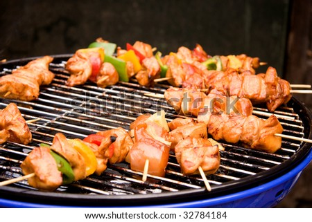 BBQ meat with paprika and pineapple