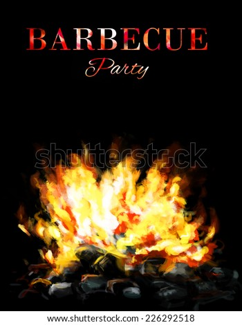 Bbq or grill template card design with fire flames on coal briquettes. - stock photo