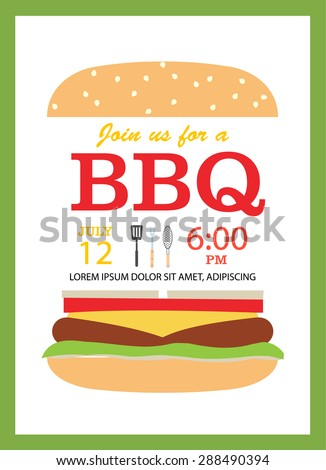 BBQ party invitation card with hamburger and cooking tools  - stock photo