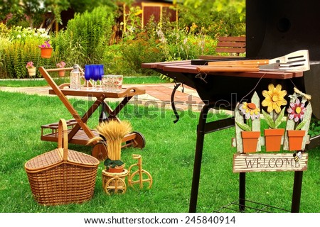 BBQ Party Scene in the Backyard at Summertime - stock photo