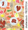 BBQ party seamless pattern, menu card, bbq grill party - stock photo