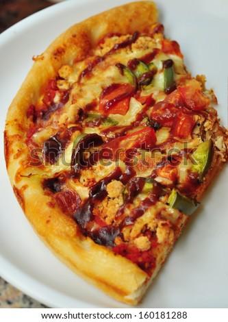 BBQ Pizza slice - stock photo
