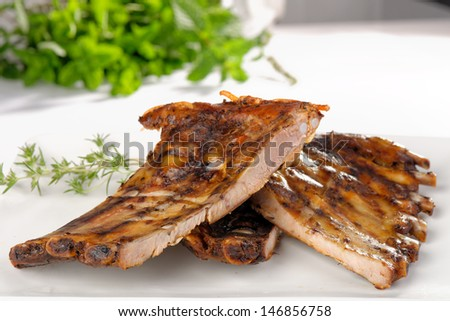 BBQ Pork ribs  - stock photo