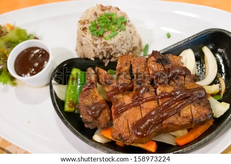 BBQ Pork Steak with vegetable, rice and pepper sauce