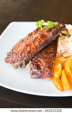 Bbq ribs meat steak - soft focus - stock photo