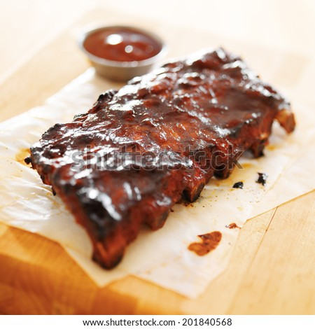 bbq ribs shot with selective focus - stock photo