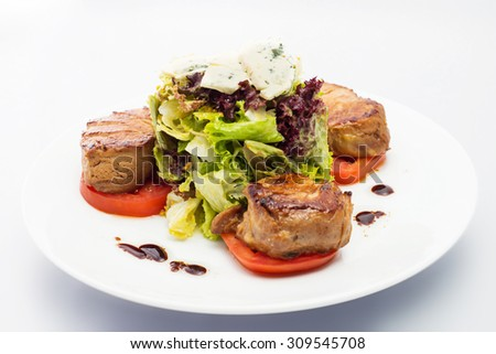 BBQ Steak. Barbecue Grilled Beef Steak Meat with Vegetables. Healthy Food.  Steak Dinner - stock photo