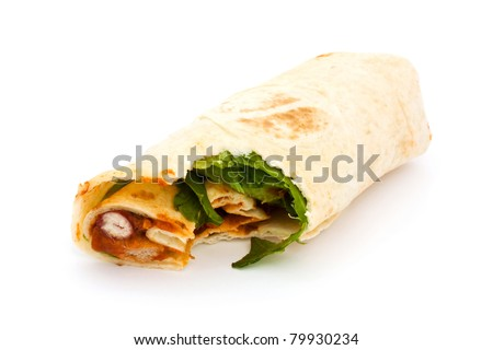 BBQ wrap over white with a missing bite