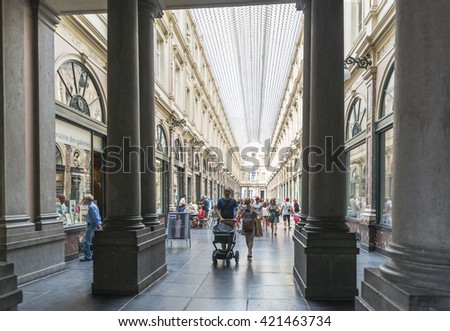 BBRUSSELS, BELGIUM - JULY 4 2015: Detail of the Royal Saint Hubert Galleries, in the city center, the first commercial galleries of Europe. - stock photo
