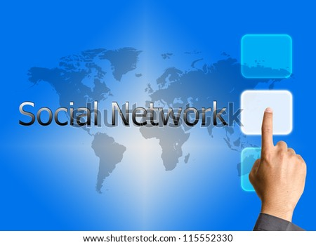 bbusinessman hand pressing social network button on a touch screen interface - stock photo