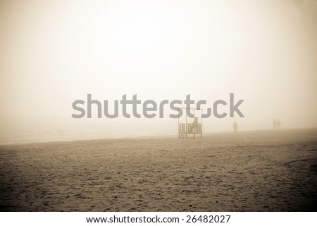 be in a fog at beach - stock photo