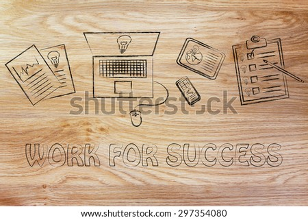 be inspired & work for success: documents, laptop, phone, tablet and to do list displaying new ideas - stock photo