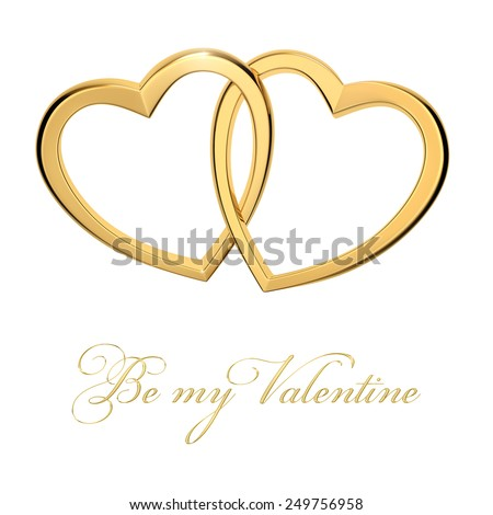 Be my valentine postcard with two United golden hearts. Beautiful photo-realistic render. - stock photo
