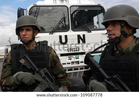 BE?RUT, LEBANON-OCTOBER 20: Unidentified Turkish UN vehicle on patrol on October 20, 2006 in Beirut, Lebanon - stock photo