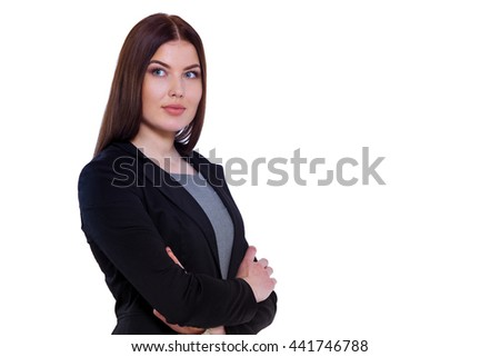Be the top priority in your own life. Confident businesswoman keeping arms crossed against white background. - stock photo