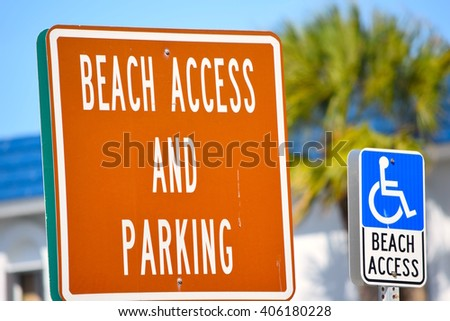 Beach Access and Handicapped Parking Signs - stock photo