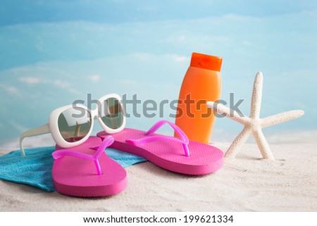 Beach accessories - stock photo