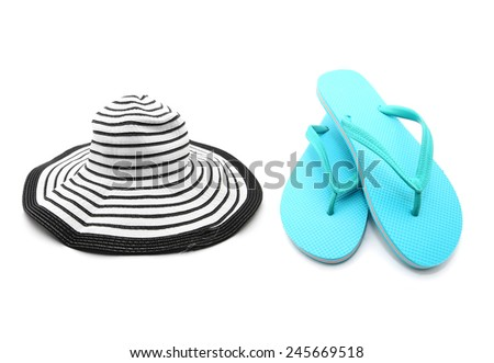 Beach Accessories - Blue sandals and beach hat isolated on white - stock photo