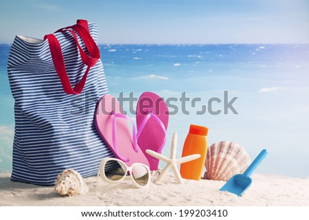 Beach accessories. Concept of summer vacations, retro style - stock photo