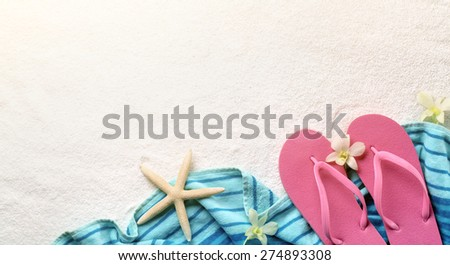 Beach accessories on sands - stock photo