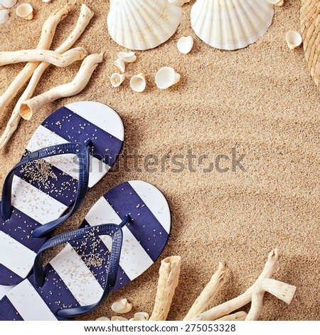 beach accessories on wooden board - stock photo