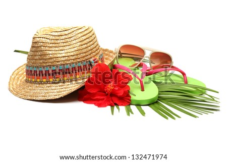 Beach accessories with straw-hat,Sun glasses and Flip Flops - stock photo