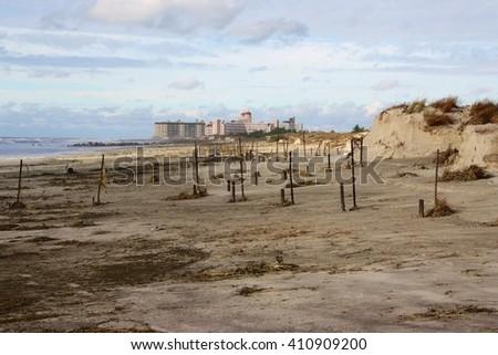 Beach after Hurricane Sandy - stock photo
