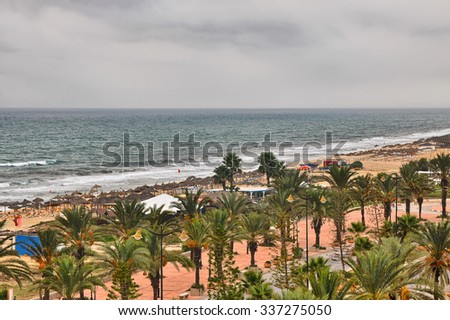 Beach alley with Date Palms in Hammamet on cloudy day, Tunisia, Mediterranean Sea, Africa, HDR - stock photo