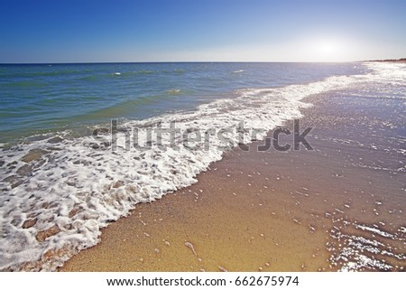 beach and beautiful tropical sea. beautiful seascape and sun on blue sky background