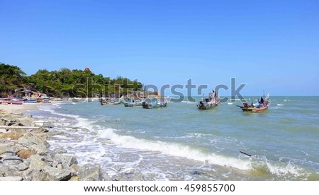 beach and boat at tropical sea ,select focus with shallow depth of field:ideal use for background