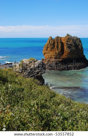 beach and cliff - stock photo