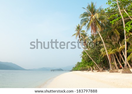 Beach and Coconut palm tree at Koh Chang Island ,Thailand - stock photo