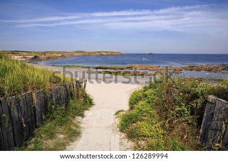 Beach and dunes of Portivy on the peninsula of Quiberon in the Morbihan department in Brittany in north-western France - stock photo