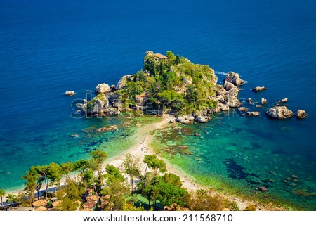 beach and island Isola Bella at Taormina, Sicily - stock photo