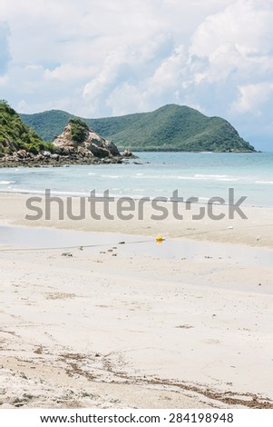 Beach and mountains - stock photo