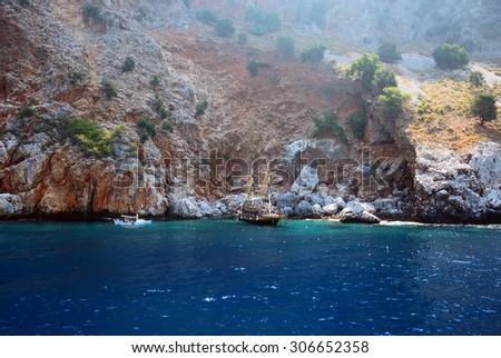 Beach and mountains near Alanya, Turkey - stock photo