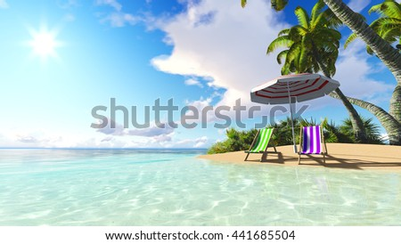 beach and palms blue sky clouds 3D rendering - stock photo