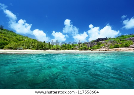 beach and perfect sunny day, Seychelles - stock photo