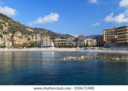 beach and promenade in Recco, small town in Liguria, Italy
