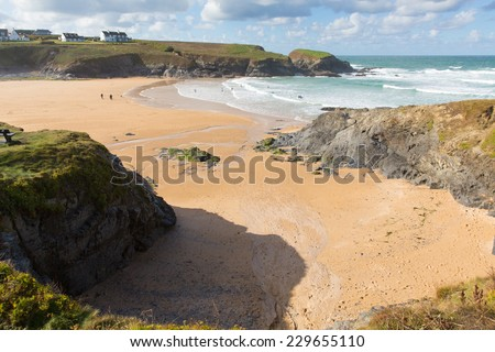 Beach and rocks Treyarnon Bay Cornwall England UK north coast between Newquay and Padstow on a sunny blue sky day - stock photo