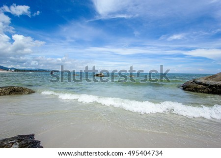 Beach and  sea with sky at Huahin Thailand