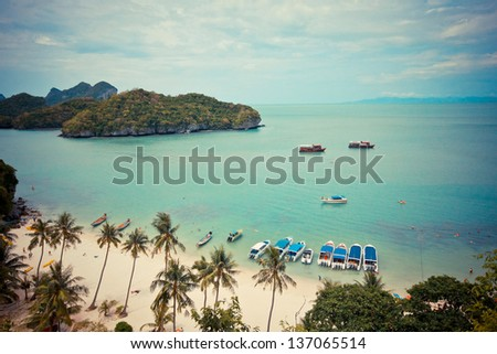 Beach and sky top view at marine national park in Thailand - stock photo