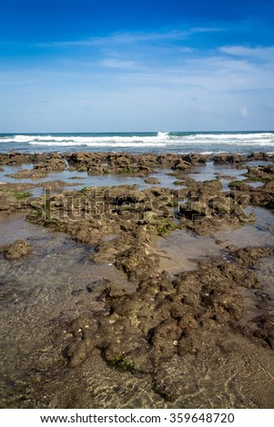 beach and stone atlantic sea florida daytime - stock photo