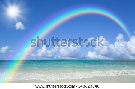 beach and sun - stock photo
