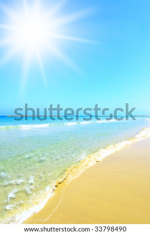 Beach and sun, may be used as background
