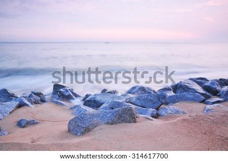 beach and sunset.  - stock photo