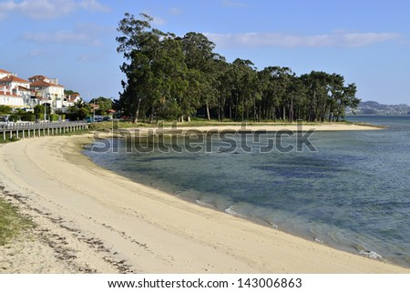 Beach and town in the famous Toxa island. Travel to Rias Baixas, Galicia, Spain