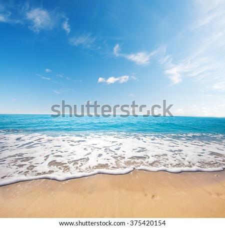beach and tropical sea - stock photo